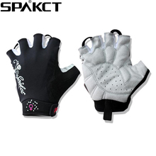 SPAKCT Women s Cycling Short Finger Half Finger font b Gloves b font Simple Love Embroidered