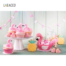 Laeacco Wooden Board Flamingo Cake Baby Party Portrait Photography Background Customized Photographic Backdrops For Photo Studio