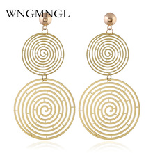 цена на WNGMNGL Vintage Elegant Statemen Drop Earrings For Women Punk Hollow Double Round Long Dangle Earrings 2018 Female Ear Jewelry