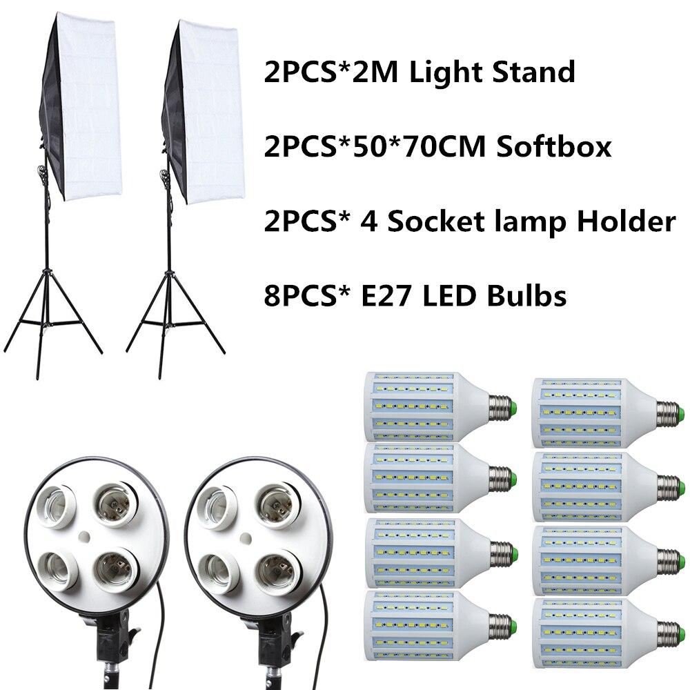 YIXIANG 8 PCS E27 LED Ampoules Photographie La Lumière Kit Matériel Photo + 2 PCS Softbox Boîte à Lumière + Lumière Stand pour Photo Studio Diffuseur