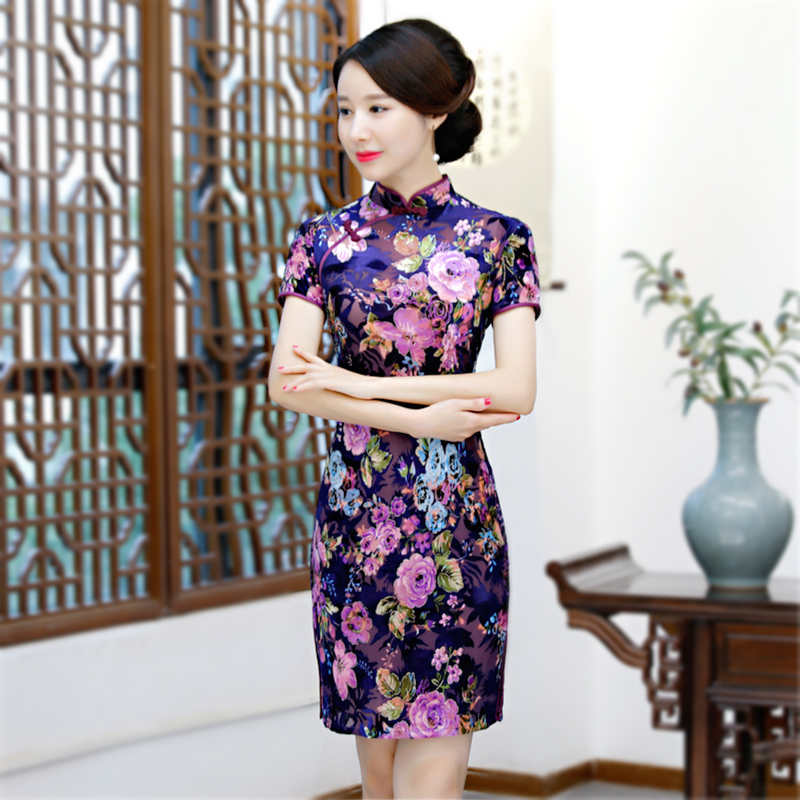 Sheng Coco Women Purple Velvet Qipao Cheongsam Short Mini Dresses Elegant Chinese Style 4XL Autumn Velvet Classic Qi Pao Dress