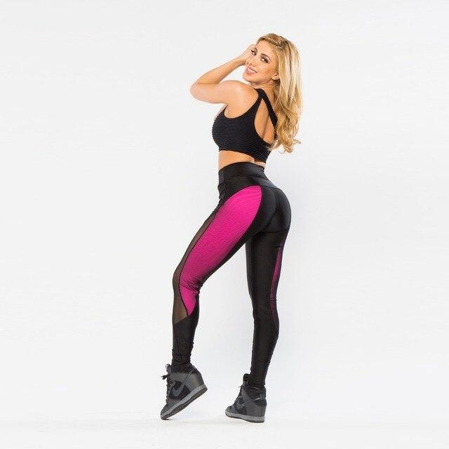 01c2d9310a NEW Sexy Womens Fashion Sportswear Pants Elastic High Waist Fitness Leggings  Mesh Patchwork Black Pink Hit Color Workout Leggins