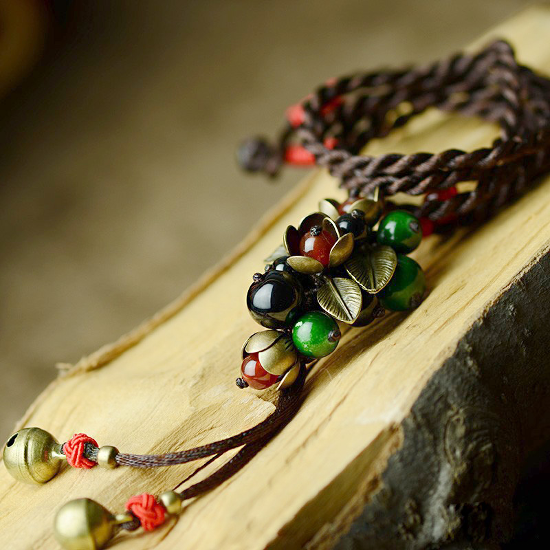long maxi ethnic necklace for women red green black stone bronze flower drop pendant rope chain fashion 2018 vintage jewelry