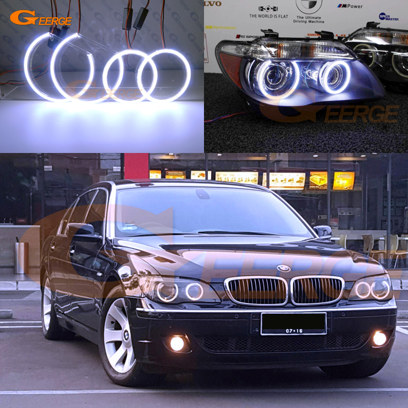 Pour BMW E66 E65 750I 760i 750Li 760Li 2006 2007 2008 lifting Excellent éclairage Ultra lumineux COB led angel eyes kit