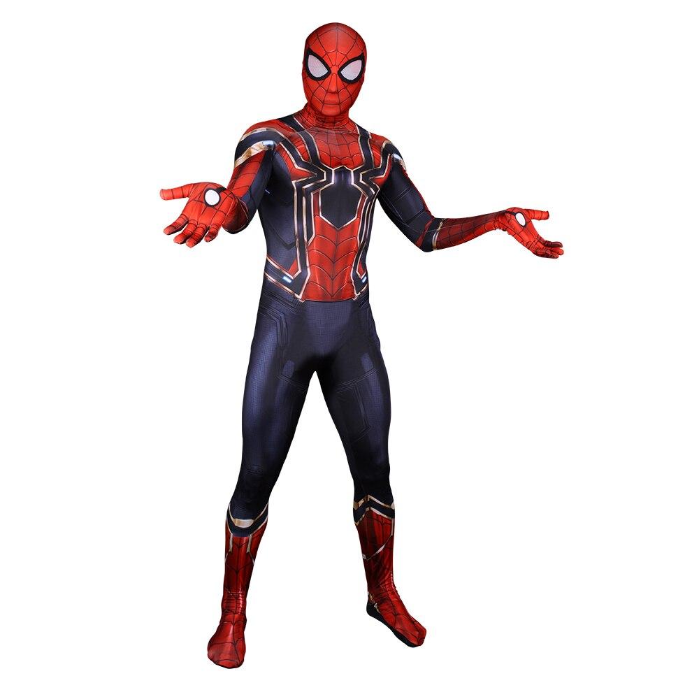 2018 Newest <font><b>Spider</b></font> <font><b>Men</b></font> Bodysuit 3D Print <font><b>Spider</b></font>-<font><b>Man</b></font> Homecoming Cosplay <font><b>Costume</b></font> <font><b>Adult</b></font> Superhero Lycra Spandex Jumpsuit <font><b>2</b></font> Design
