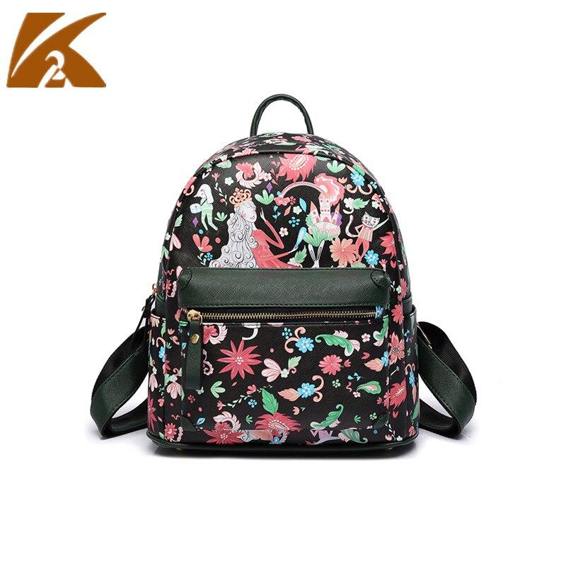 2018 Female Casual Travel Back Pack Bag Women Leather Backpack Vintage Print School Bags for Teenage Girls Mochila Feminina