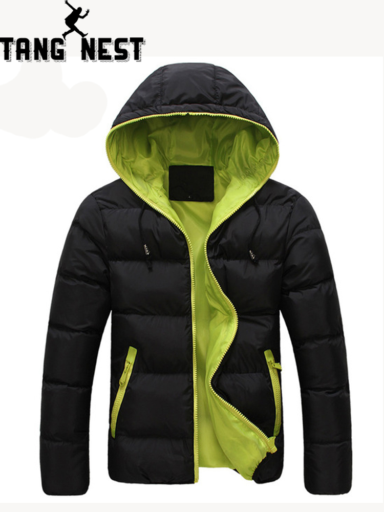 TANGNEST 2019 Contract Color New Arrival Fashional Lowest Price Men's Cotton Coat Soft Hooded Man Winter   Parka   MWM471