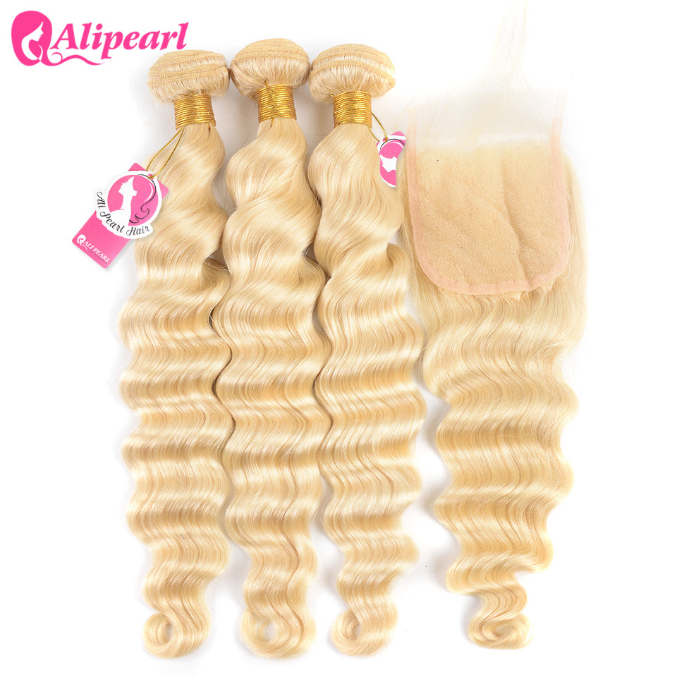 AliPearl Hair Loose Deep 613 Blonde Bundles With Closure 4x4 Brazilian Human Hair Weave Bundles With Closure Remy Hair Extension image