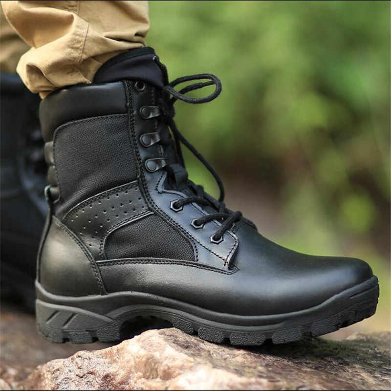 Hommes bottes militaires hommes maille cuir chaussures de sécurité pour hommes printemps noir cheville armée bottes plate-forme moto bottes chaussures militaires