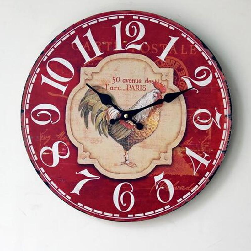 Wooden Cafe Rastaurant Shop Decoration Silent Hanging Clocks European Pastorl Creative Home Deco Wall Clock
