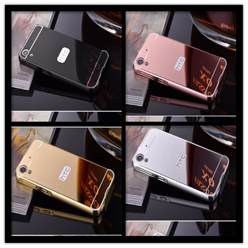 For HTC Desire 626 626 G 628 650 A32 626G 5.0 inch phone Case Fashion Luxury Protective Gold Aluminum Mirror Back Cover Case image
