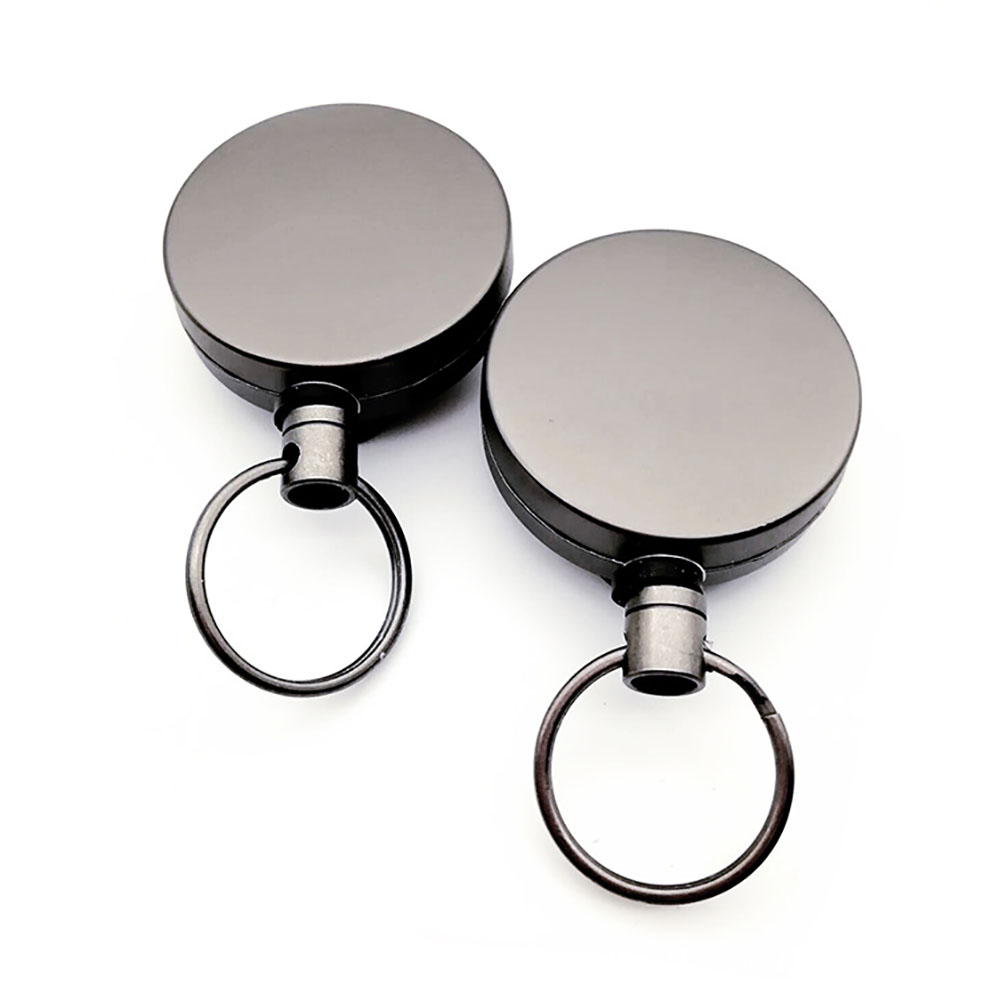 2PCS Pull Badge Holder Reel Heavy Duty Key Ring Lanyard Office Metal Retractable