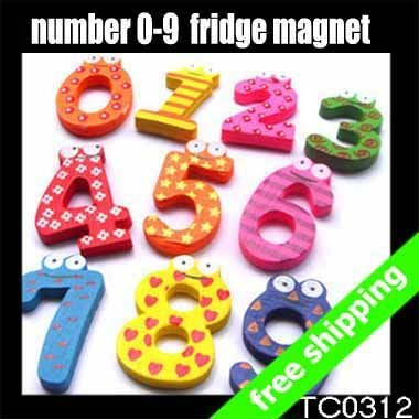 Free shipping Numbers Fridge Magnet Children's Educational Toy Gift Kid's Wooden Stickers 0 To 9 10pc/set 20sets say hi 0312