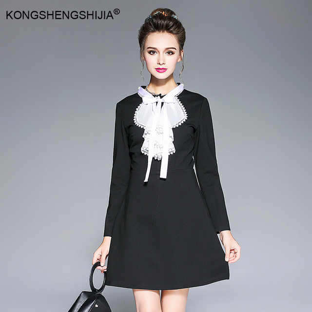 9fc806991aedd black office lady dress white bow collar plus size S to 5XL EU size women  clothing simple casual dresses