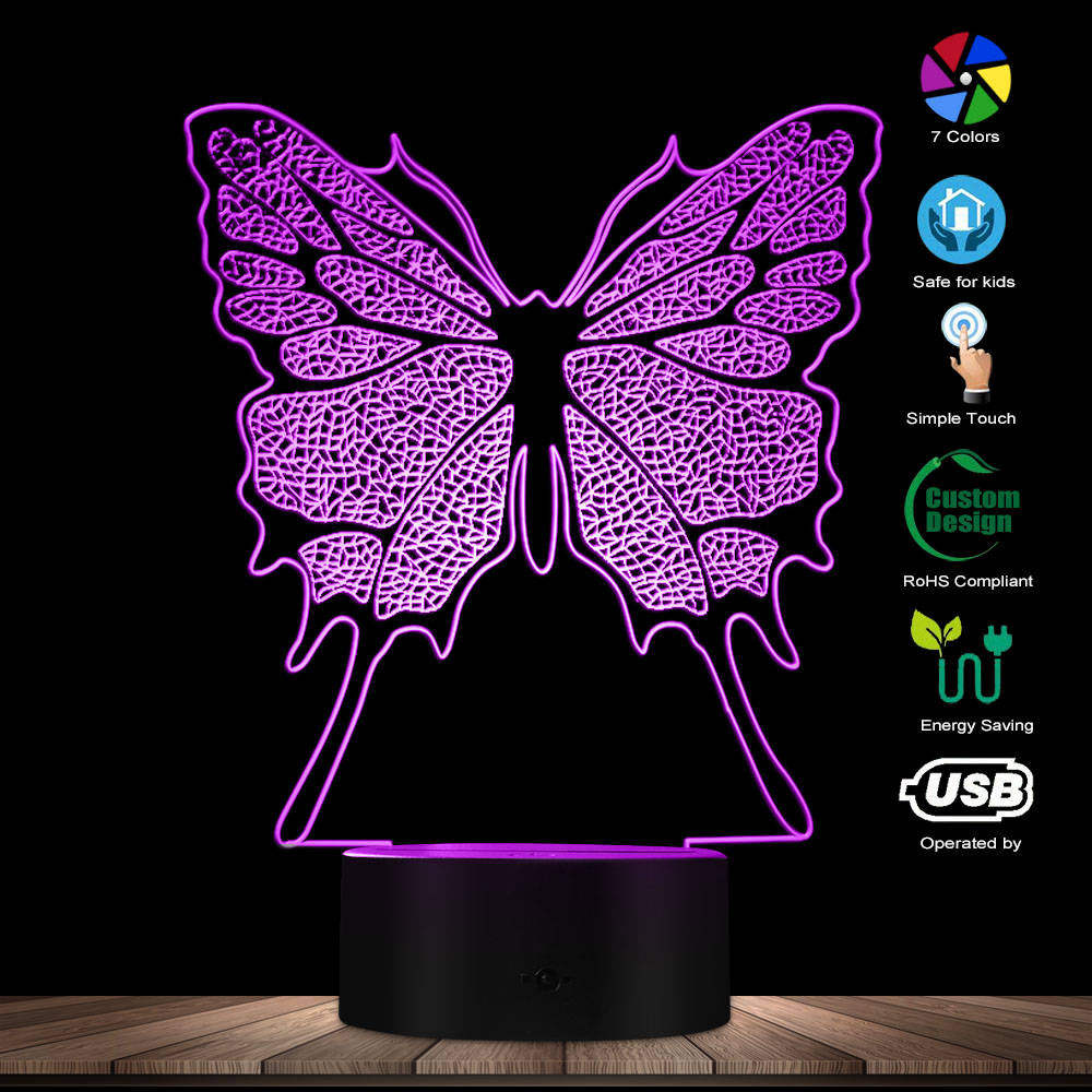 3D Hologram Illusion Butterfly Fashion Modeling Nightlight Color Changing LED Table Light Novelty Baby Night Light Visual Lamp