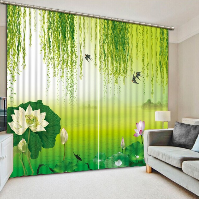 Chinese Style Landscape Painting Modern Living Room Curtains Willow Lotus  Landscape Beautiful HD Window