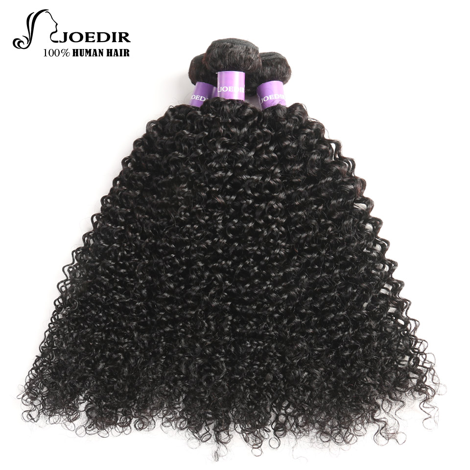 Joedir Pre-Colored Malaysian Kinky Curly Hair Wave Bundles Non Remy 3 Bundles Deal 100% Curly Human Hair Weave Bundles