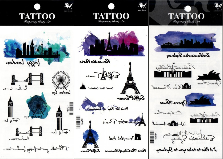 Ny 3st Temporary Tattoo Painting Village Byggnad Svart Grön Halloween Body Art Män Kvinnor Party Tatuagem Tattoo