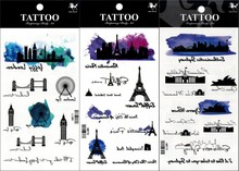 New 3pcs Temporary Tattoo Painting village Building Black Green Halloween Body Art Men Women Party Tatuagem Tattoo