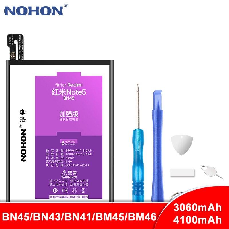 Bateria NOHON BN45 BN43 BN41 BM45 BM46 Para Xiaomi Hongmi Redmi Nota 2 3 4 4X5 Note2 Note3 substituição de Baterias de Polímero de lítio