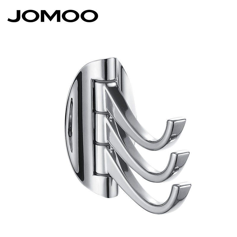 JOMOO Robe Hook Zinc Alloy Wall Hook Modern Bathroom Revolve Towel Bar Cloth Coat Hooks Chrome Three Tiers Bathroom Accessories