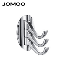 Zinc Alloy Modern Style Bathroom Revolve Towel Bar Coat Hooks Chrome Three Tiers Robe Hook Wall