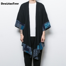 2017 autumn retro chinese wind mens section and japanese crane embroidery small kimono cardigan