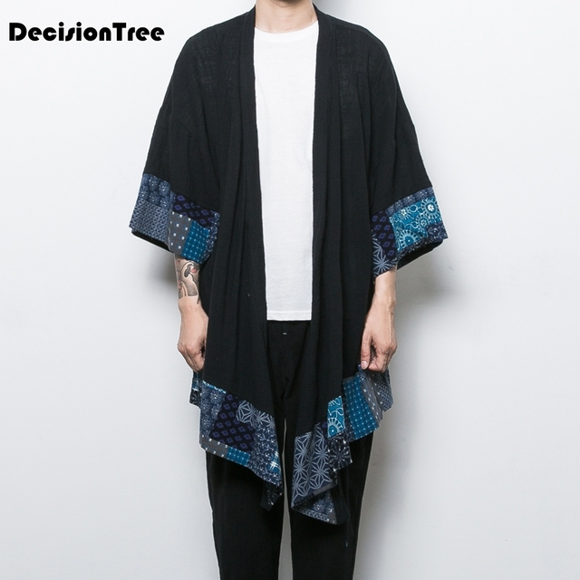 2019 summer retro chinese wind men's section wind and wind japanese crane embroidery small kimono cardigan