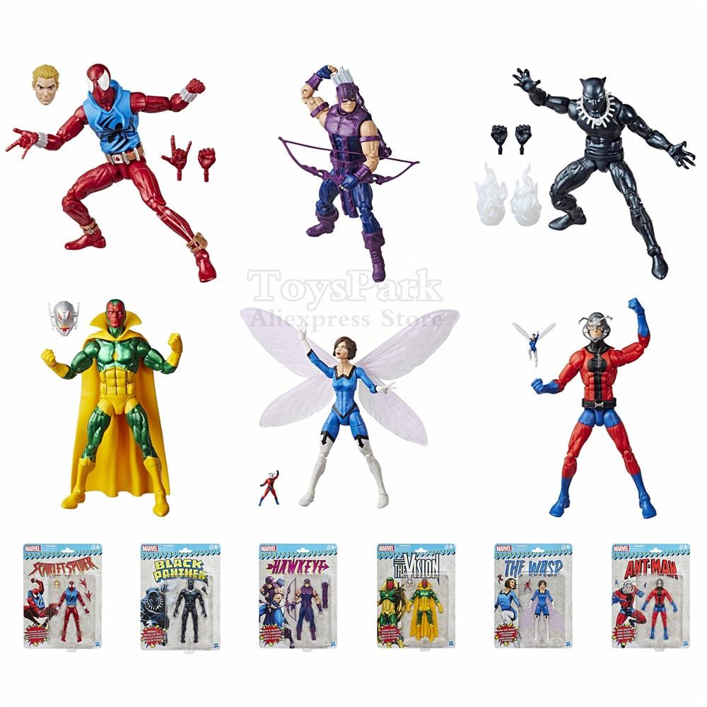цена на 2018 Marvel Legends Vintage Wave Scarlet Spider Hawkeye Black Panther Vision Wasp Ant Man Spiderman 6
