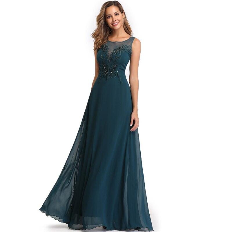 Elegant See-Through Appliques Chiffon Long Evening Dress 10