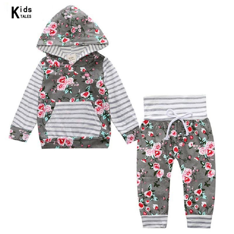 2018 New fashion spring girls clothes set Adorable Newborn Girls Clothing gray Floral Hooded Tops Pants kids clothes set