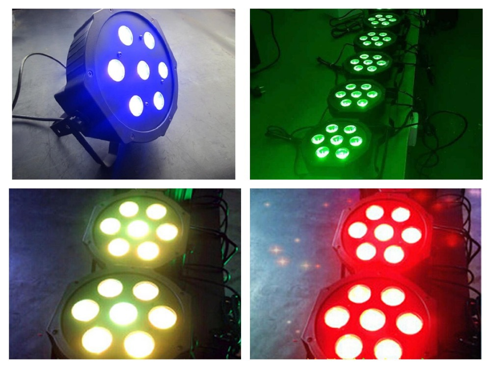 ФОТО 10pcs/Lot, ADJ LED par 7x4W RGBW / RGBA 4in1 IEC input/output Slim Par38 Light American DJ Stage Lights Disco Club Bar