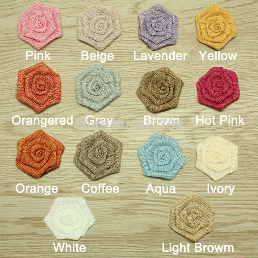 DHL free shipping headband 3 Burlap rose flower linen flower 60 pcs 12colors for selection