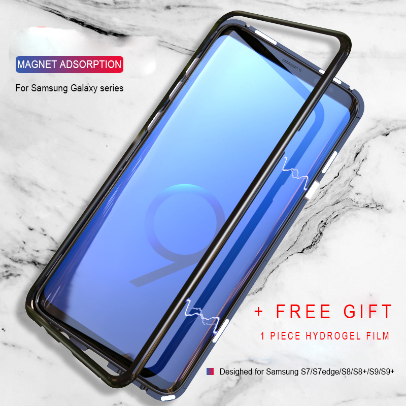 buy popular a5ddf 2cce4 US $12.0 |Magnetic Adsorption Flip Phone Case for Samsung Galaxy S8 S9 Plus  Note 8 S7 Edge Luxury Magnet Metal Tempered Glass Back Cover-in Fitted ...