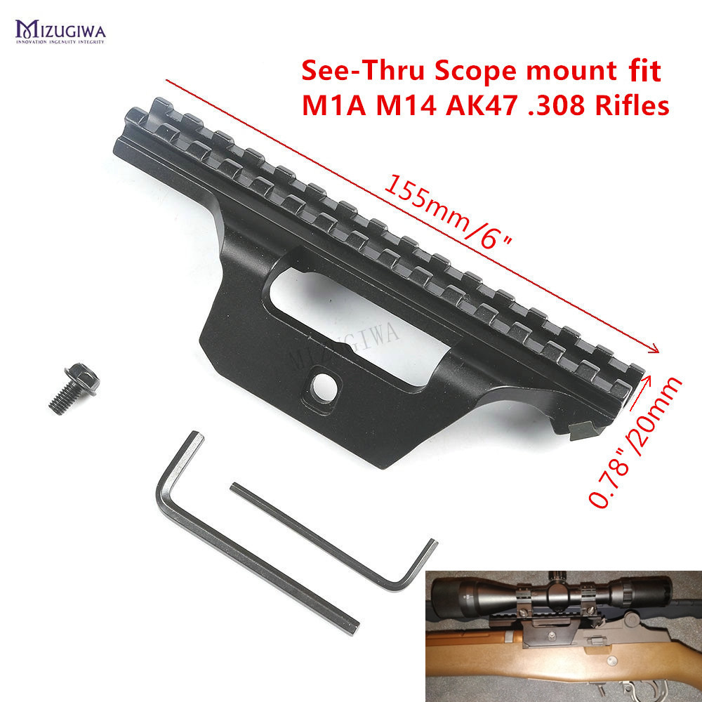 See-Thru <font><b>Scope</b></font> <font><b>Mount</b></font> M1A M14 <font><b>AK47</b></font> .308 Rifles Tactical 15 Slots Holder Guide Side 20mm Picatinny Rail Low Profile image