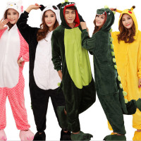 Adult Unisex Men Women Pajama Set Cartoon Animal Halloween Costume Hoodie Onesie Sleepwear Unicorn Panda Stitch