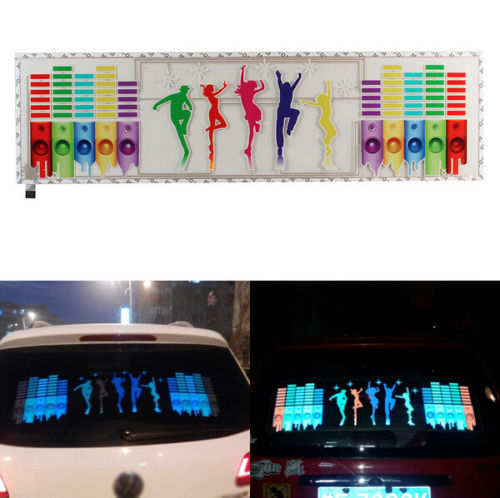 Car Flashing 1Pcs Music Rhythm EQ Sticker Music Equalizer on Car Windshield LED Sound Activated EL Sheet Glue Stickers 90*25 cm pink colors 70 16cm flash car sticker music rhythm led el sheet light lamp sound music activated equalizer