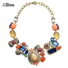 JShine High Class Asymmetrical Statement Necklace Women Choker Gold Color Chain Brand Jewellery Necklaces Pendants(China)