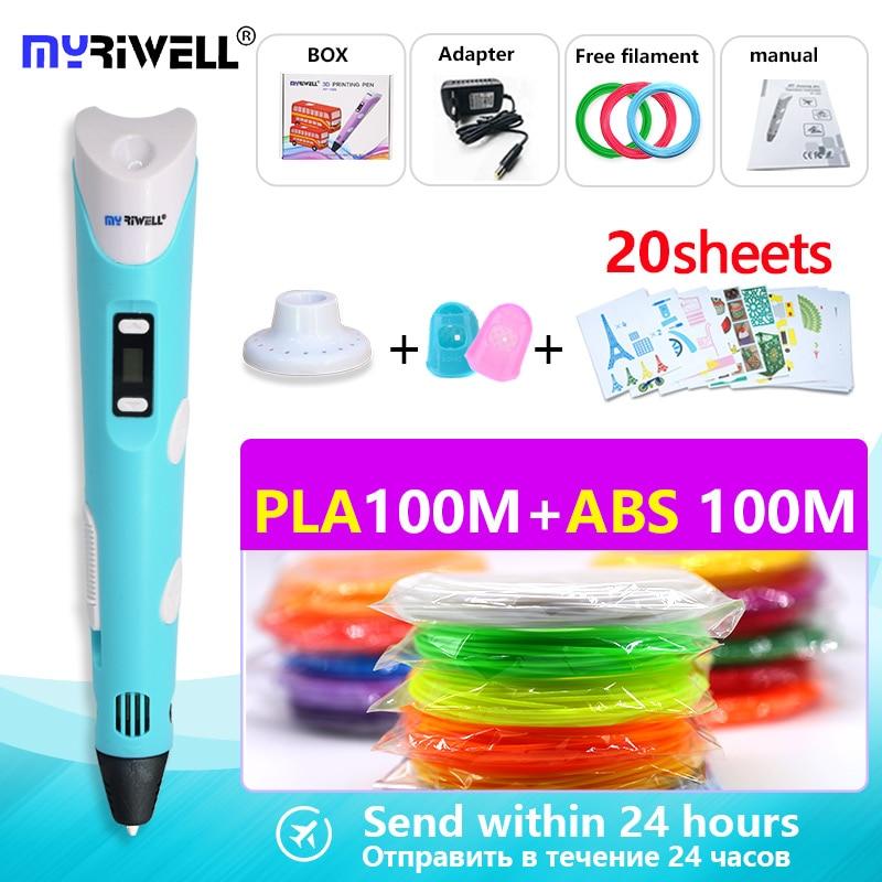 3d caneta impressora 3d pen rp 100b com 200 m de filamentos (ABS 10colors * 10 metro + PLA10colors * 10 metro) os melhores presentes de Natal