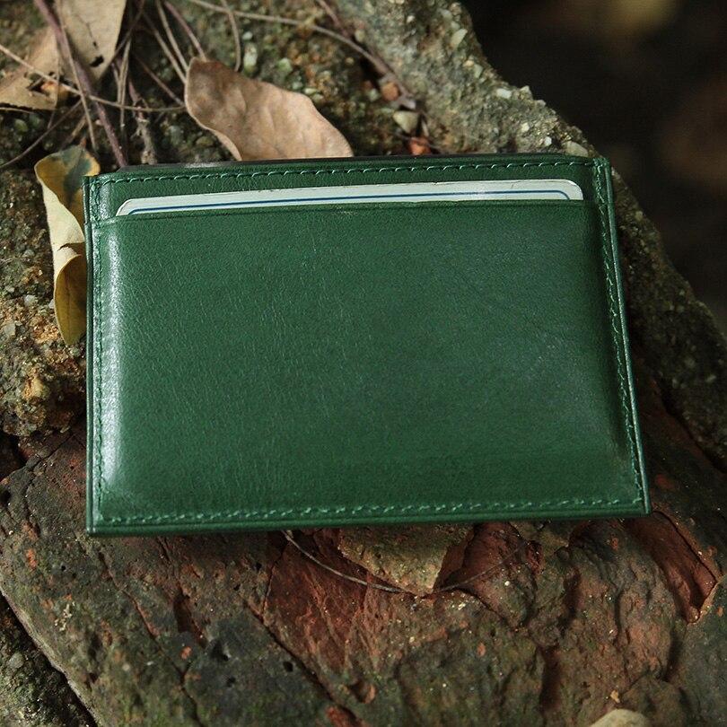 Hiram Beron RFID Blockering Läder Kort Hållare Män Custom ID Mini - Plånböcker - Foto 3