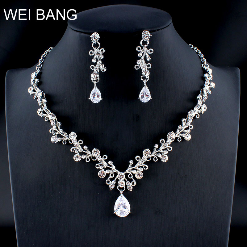 Weibang Classic Flower Crystal Jewellery Set Bride Silver Necklace
