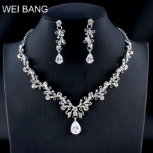 WEIBANG Classic Flower Crystal Jewellery Set Bride Silver Necklace Necklace Earr
