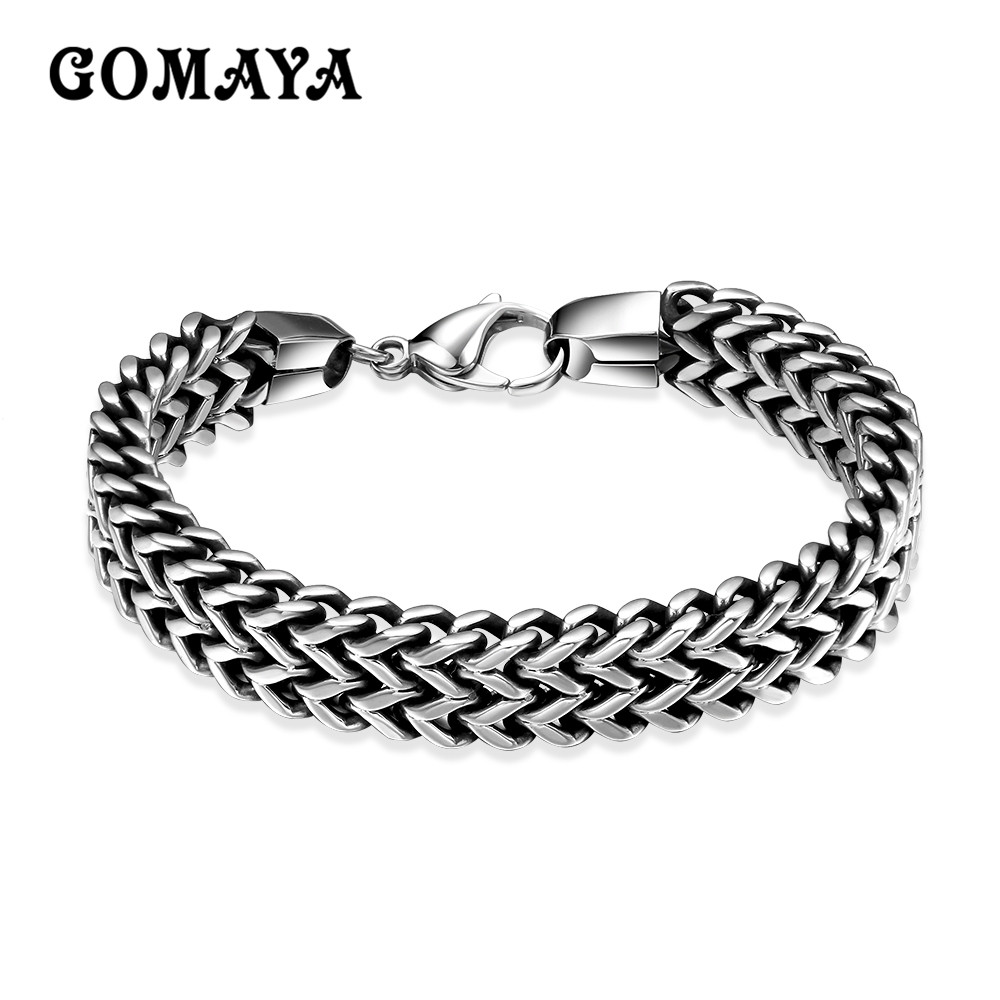 GOMAYA Bracelet Silver Color Link Mens Chain Boys Jewelry