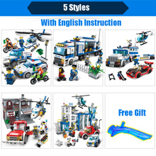 GUDI City Police Series Building Blocks Compatible With Legoed Car Helicopter Figures Block Assembled Toys Cops Educational Toys