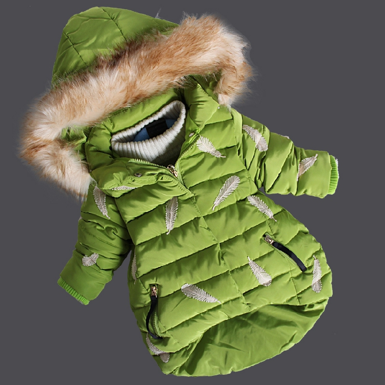 2017 Children Baby Fur Hooded Feather Print Girls Winter Coat Kids Long Jacket for Girls Baby Cotton-Padded Parkas Down Overcoat 2017 winter children cotton padded parkas clothes baby girls