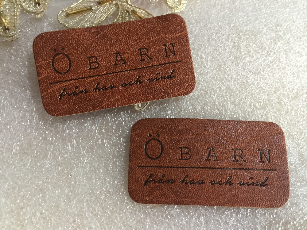 Custom made leather label PU leather label PU patch debossed embossed logo leather tags for clothes