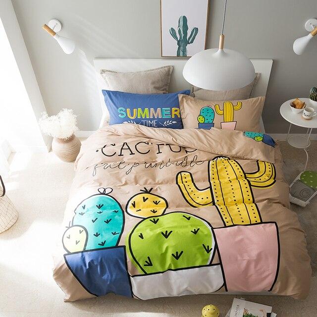 YeeKin Desert Cactus Design Kids BedSpreads Sets,Flat Fitted Bed Sheet Queen  Twin Size Cactus