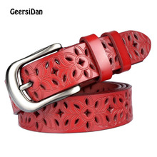 GEERSIDAN 2018 New genuine leather women belt Design brand hollow decoration for Fashon pin buckle female waistband
