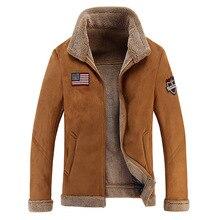Зимняя теплая куртка из искусственного меха Мужская роскошная кожаная куртка верхняя одежда из овечьей кожи с флисовой подкладкой Толстая куртка-бомбер мотоциклетная кожаная куртка мужская