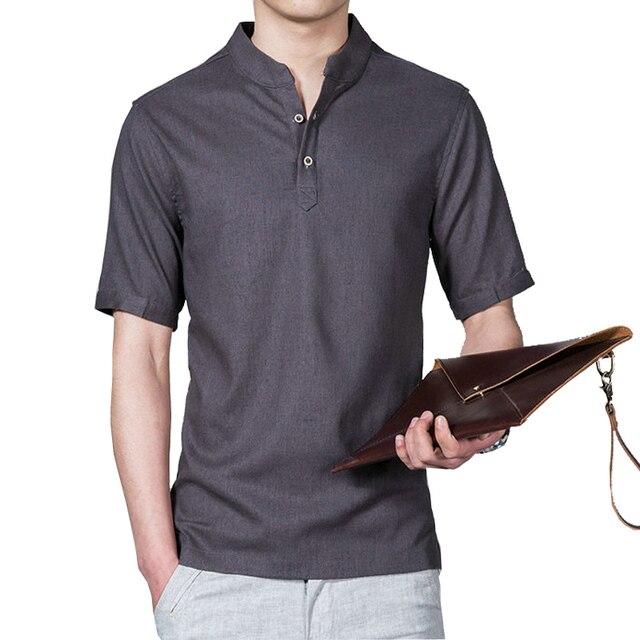 Summer Men Shirt Short Sleeve Slim Fit Shirt Big Size 5XL Cotton Linen Shirts Men Casual 2017